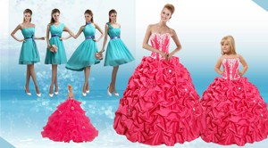 Sweetheart Pick Ups And Appliques Quinceanera Dress And Baby Blue Short Dama Dress And Strapless P
