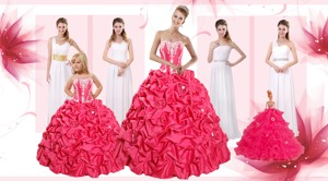 Appliques And Pick Ups Quinceanera Dress And White Long Dama Dress And Strapless Flower Girl Dress
