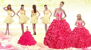 Pick Ups Red Quinceanera Dress And Yellow One Shoulder Prom Dress And Cute Red Little Girl Dr