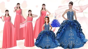 Elegant Ruffles And Embroidery Quinceanera Gown And Watermelon Long Prom Dress And Embroidery Litt
