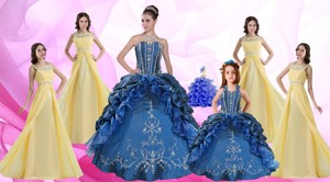 Ruffles And Beading Sweetheart Quinceanera Dress And Beading Long Dama Dress And Halter Top Embroi