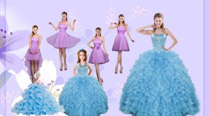 Beading Pretty Aqua Blue Quinceanera Gown And Lilac Short Dama Dress And Halter Top Ruffles Pagean