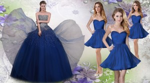 Pretty Navy Blue Really Puffy Quinceanera Dress And Fashionable Short Dama Dress