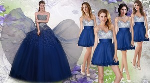 New Arrivals Beaded Tulle Quinceanera Dress And Exquisite V Neck Sequined Dama Dress