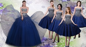 Most Popular Beaded Big Puffy Quinceanera Dress And Elegant Tea Length Navy Blue Dama Dress
