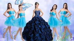 Customized Taffeta Bubles And Beaded Sweet 16 Dress And Short Baby Blue Dama Dress