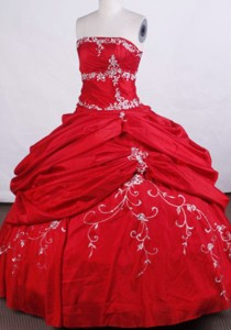 Modern Ball Gown Strapless Floor-length Quinceanera Dress Embroidery With Beading