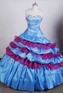 Pretty Ball Gown Sweetheart Floor-length Quinceanera Dress Appliques And Beading