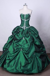 Fashionable Ball Gown Strapless Floor-length Green Beading Quinceanera Dress