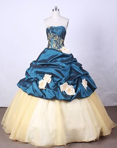 New Arrival Ball Gown Strapless Floor-length Blue Appliques And Beading Quinceanera Dress