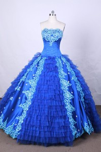 Modest Ball Gown Strapless Floor-length Blue Appliques And Beading Quinceanera Dress