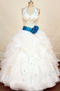 Pretty ball gown halter top floor-length beading sash with turquoise white quinceanera dress