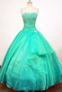 Beautiful Ball Gown Strapless Floor-length Quinceanera Dress Appliques With Beading