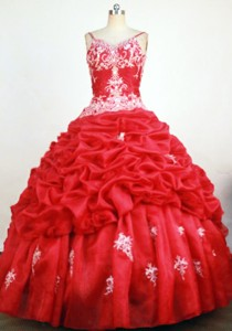 Sweet Ball Gown Straps Floor-length Redbeading And Appliques Quinceanera Dress