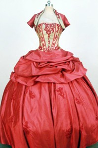 Exquisite Ball Gown Strapless Floor-length Red Appliques Quinceanera Dress