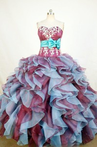 Exquisite Ball Gown Sweetheart Floor-length Burgundy Organza Appliques Quinceanera dress