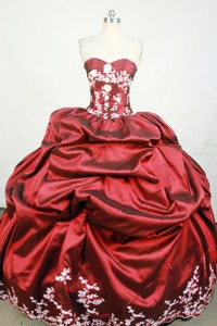 Luxurious Ball Gown Strapless Floor-length Wine Red Beading And Appiques Quinceanera Dress