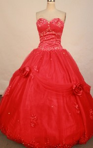Cute Ball Gown Sweetheart-neck Floor-length Net Red Beading Quinceanera Dress