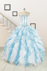 Pretty Appliques And Ruffles Quinceanera Dress In Multi-color