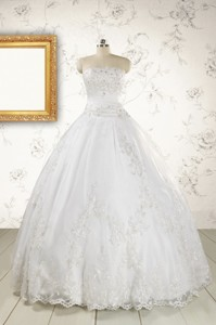 Puffy Appliques Quinceanera Dress In White