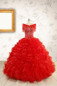 Exquisite Beading And Ruffles Red Quinceanera Gowns With Wrap