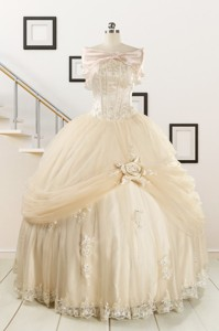 Elegant Appliques Champagne Quinceanera Dress With Wraps