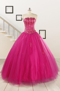Perfect Fuchsia Quinceanera Dress With Beading And Appliques