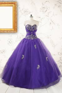 New Arrival Purple Quinceanera Dress With Appliques And Beading