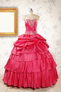 Most Popular Coral Red Sweet 16 Dress With Appliques
