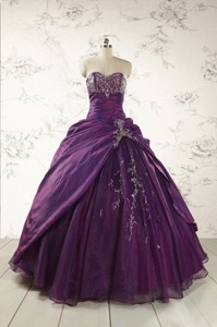 Modern Purple Sweetheart Appliques Quinceanera Dress
