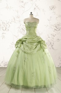 Sweetheart Beading Quinceanera Dress In Yellow Green