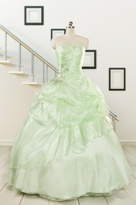 Cheap Beading Strapless Yellow Green Quinceanera Gowns