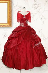 Ball Gown Sweetheart Appliques Quinceanera Dress In Wine Red