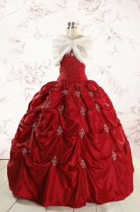 Cheap Appliques Quinceanera Dress In Wine Red