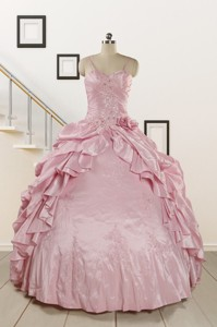 Sweet Spaghetti Straps Beading Pink Quinceanera Dress