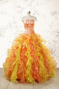 Luuxurious Strapless Appliques And Ruffles Puffy Quinceanera Dress