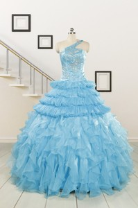 Baby Blue One Shoulder Sweet 15 Dress With Beading
