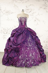 Purple Strapless Quinceanera Dress With Embroidery