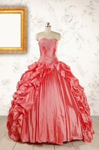 Beautiful Sweetheart Beading Quinceanera Dress In Watermelon