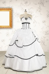 Cheap Appliques And Ruffles White And Black Quinceanera Dress