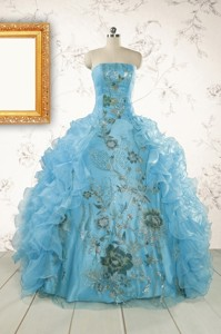 New Style Ruffles Embroidery Strapless Quinceanera Dress In Baby Blue