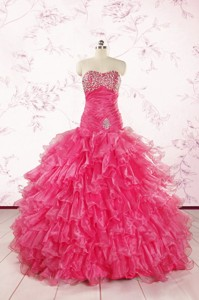 Top Seller Sweetheart Hot Pink Quinceanera Dress With Ruffles