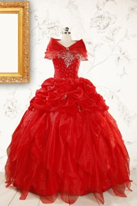 Sweetheart Ball Gown Beading Prefect Red Quinceanera Dress