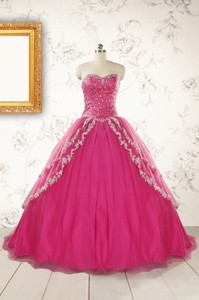 Sweetheart Sweep Train Trendy Quinceanera Dress With Sequins And Appliques