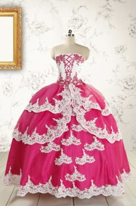 Cheap Hot Pink Quinceanera Dress With Appliques