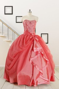 Cheap Strapless Ball Gown Quinceanera Dress In Watermelon
