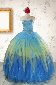Unique Sweetheart Beading Quinceanera Dress In Multi-color