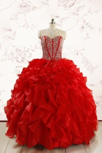 Red Beading And Ruffles Sweetheart Pretty Quinceanera Dress
