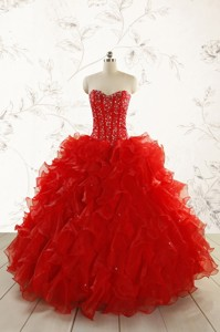 Most Popular Red Quinceanera Dress With Beading