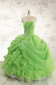 Puffy Strapless Appliques Quinceanera Dress In Spring Green
